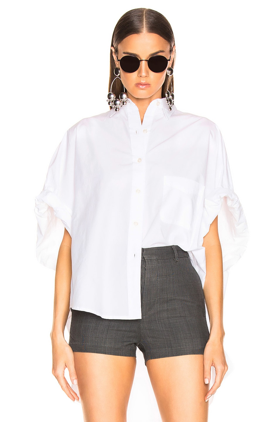 Image 1 of R13 Oversized Rolled Sleeve Shirt in White