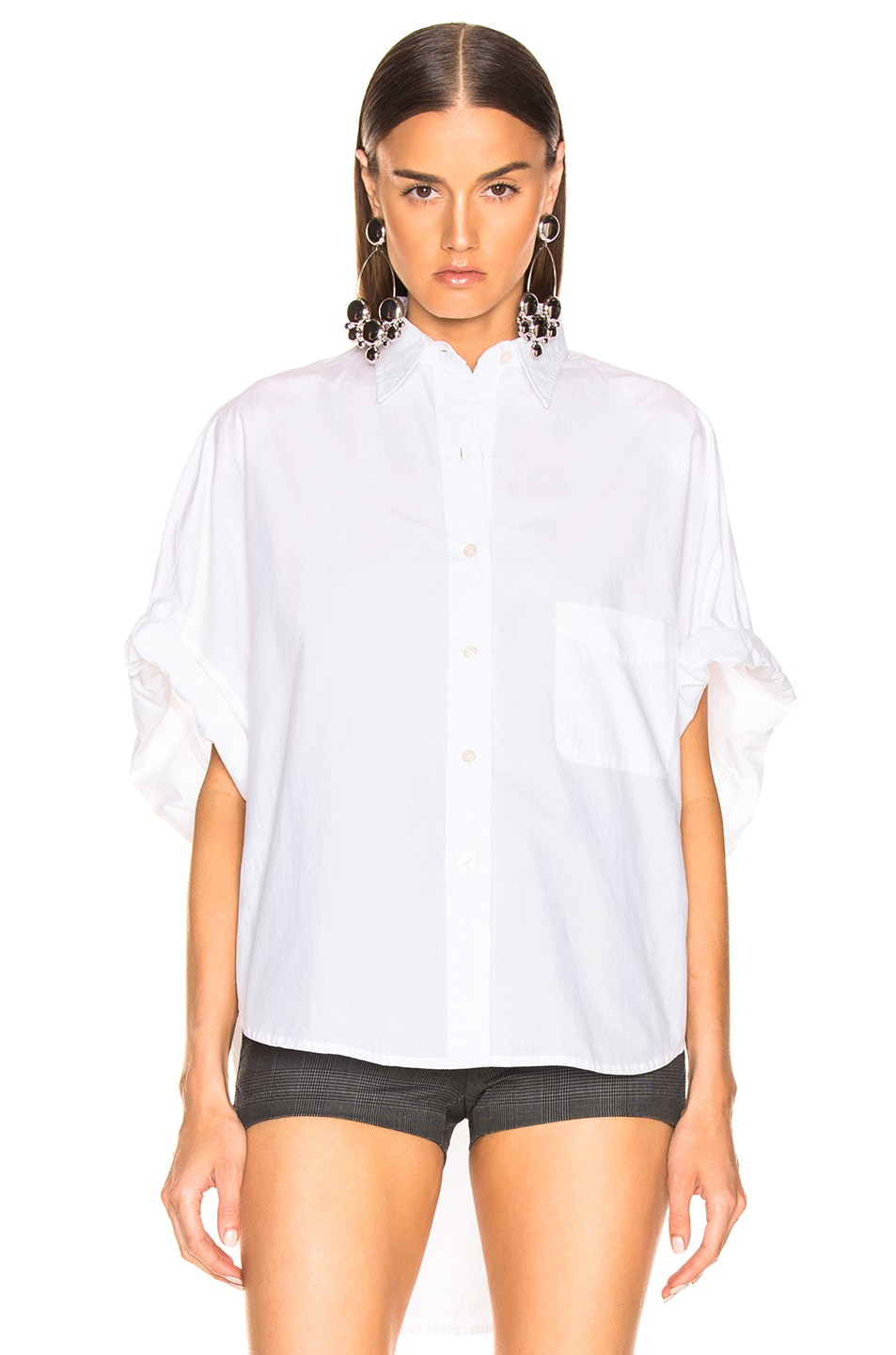 Image 2 of R13 Oversized Rolled Sleeve Shirt in White