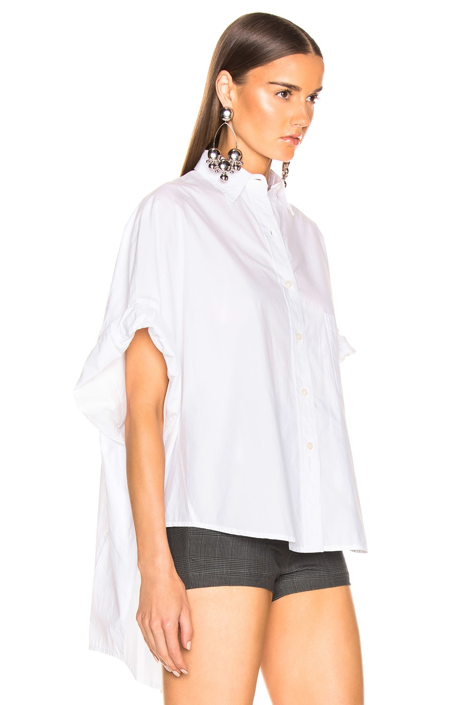 Image 3 of R13 Oversized Rolled Sleeve Shirt in White