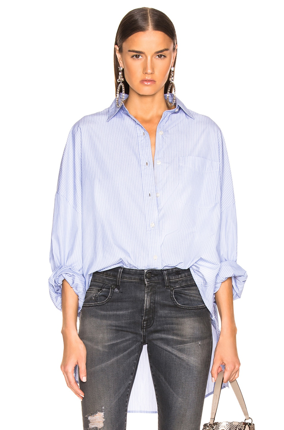 Image 1 of R13 Oversized Shirt in Blue Stripe