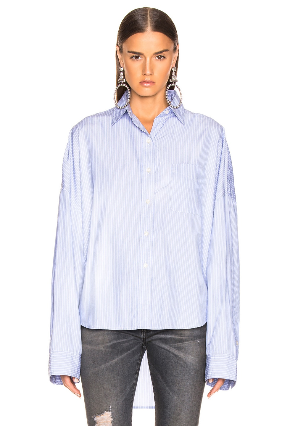 Image 2 of R13 Oversized Shirt in Blue Stripe