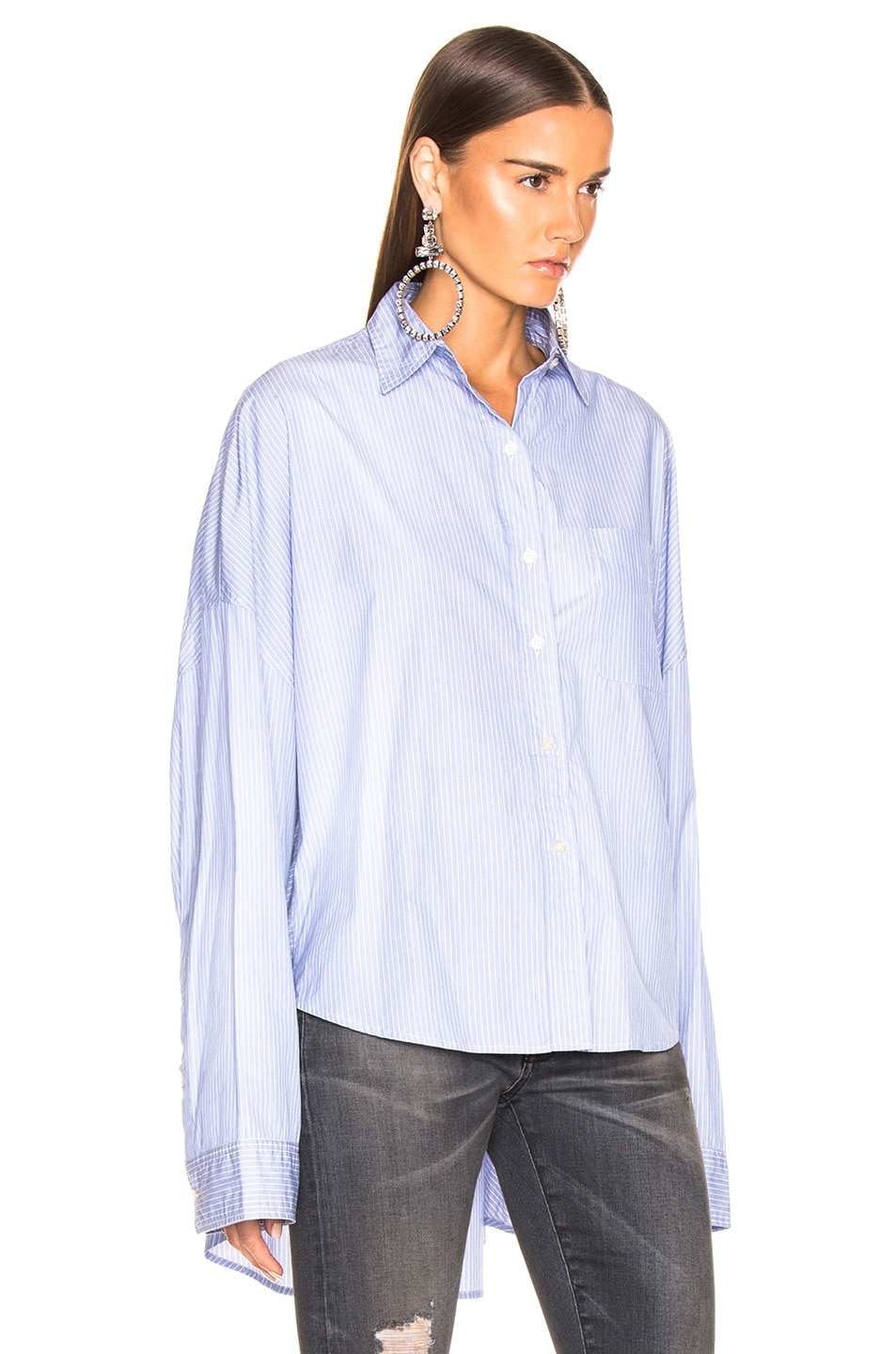 Image 3 of R13 Oversized Shirt in Blue Stripe