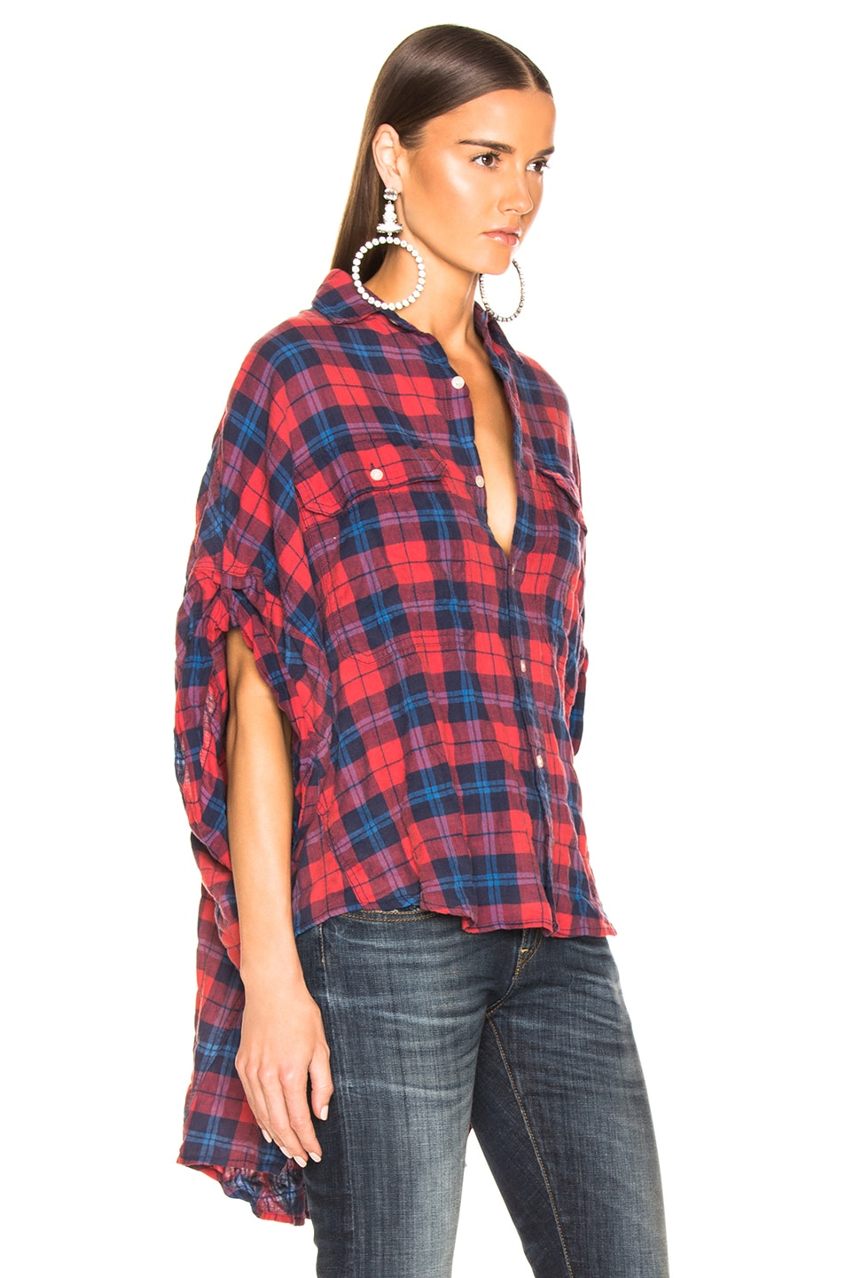 Image 2 of R13 Oversized Rolled Sleeve Plaid Shirt in Red & Blue Plaid