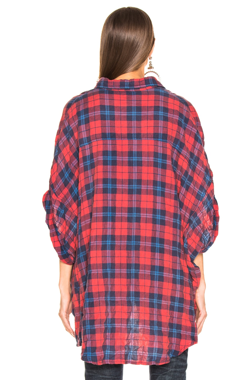 Image 3 of R13 Oversized Rolled Sleeve Plaid Shirt in Red & Blue Plaid