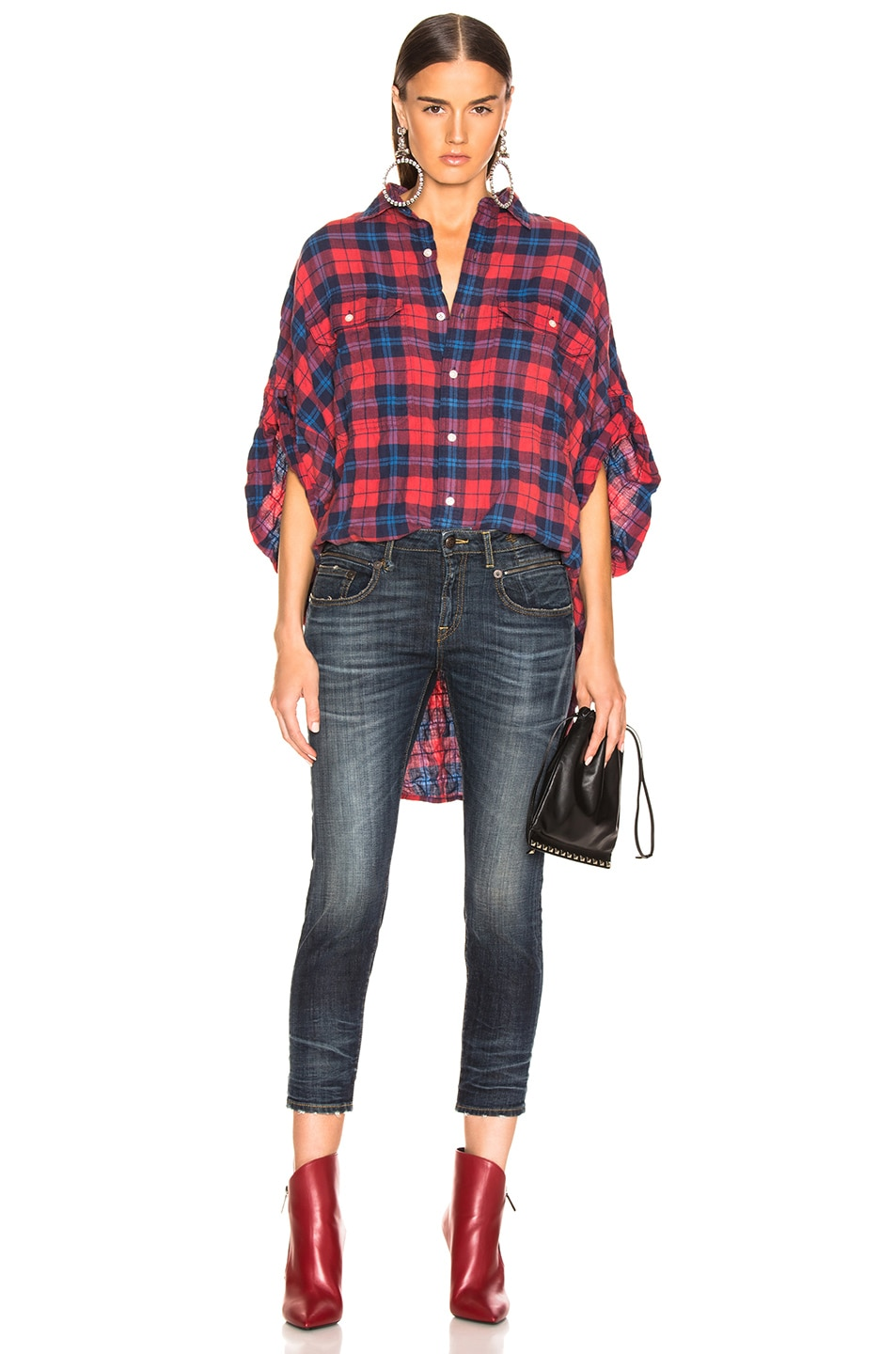 Image 4 of R13 Oversized Rolled Sleeve Plaid Shirt in Red & Blue Plaid