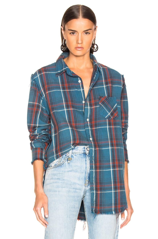 Image 1 of R13 Shredded Seam Shirt in Blue Plaid