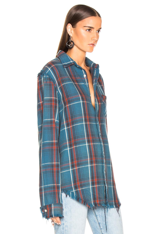 Image 2 of R13 Shredded Seam Shirt in Blue Plaid