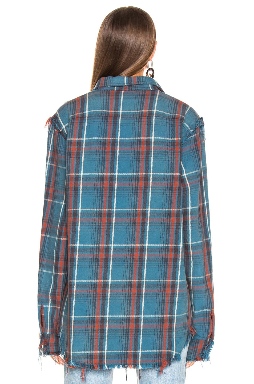 Image 3 of R13 Shredded Seam Shirt in Blue Plaid
