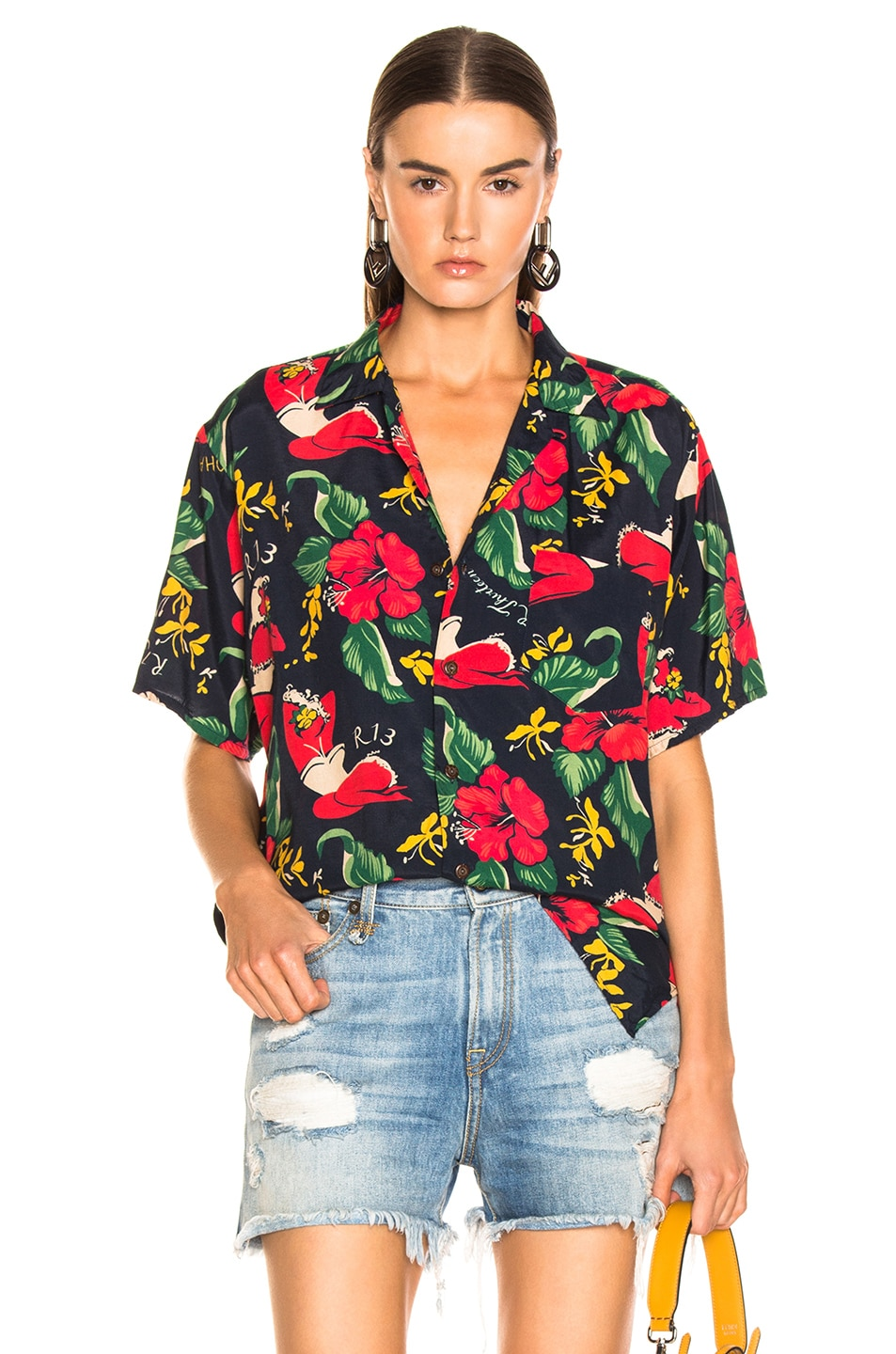 Image 1 of R13 Hawaiian Shirt in Red Lady
