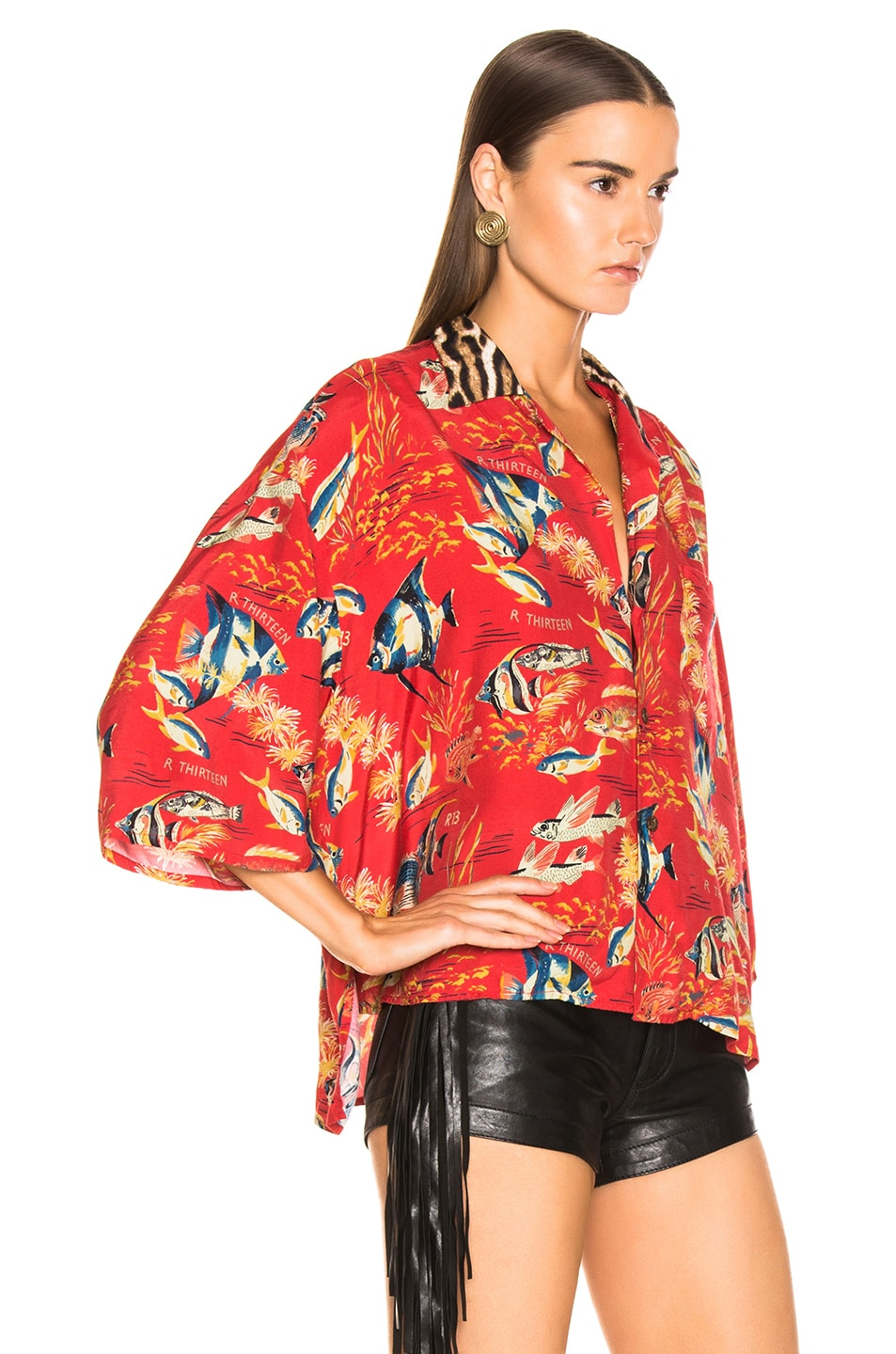 Image 2 of R13 Oversized Hawaiian Shirt in Red Fish & Leopard
