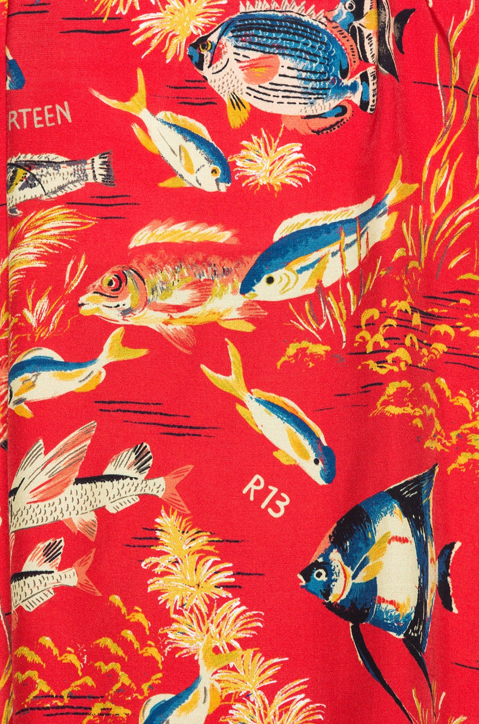 Image 5 of R13 Oversized Hawaiian Shirt in Red Fish & Leopard