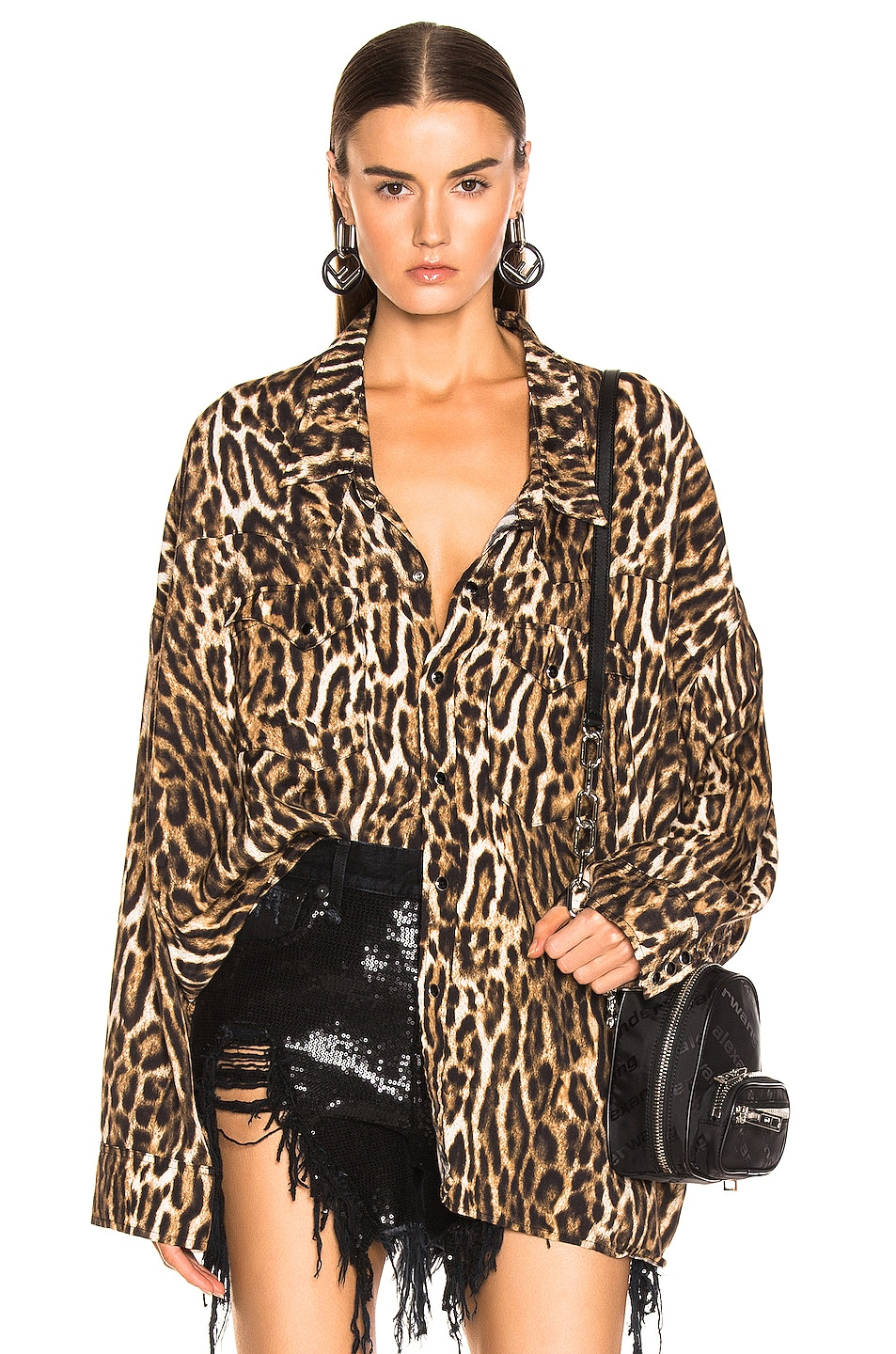 Image 1 of R13 Oversized Cowboy Shirt in Leopard