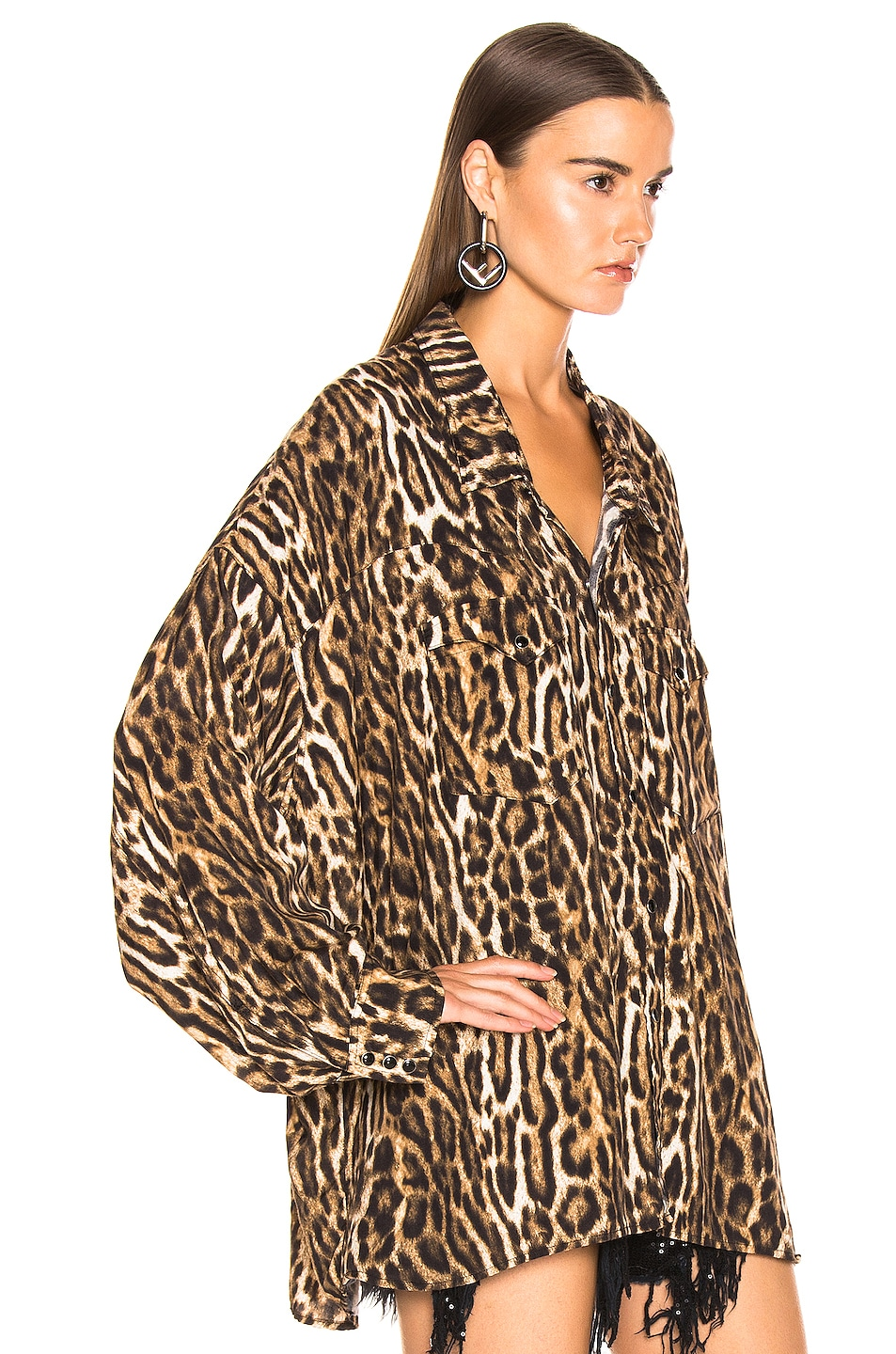Image 2 of R13 Oversized Cowboy Shirt in Leopard