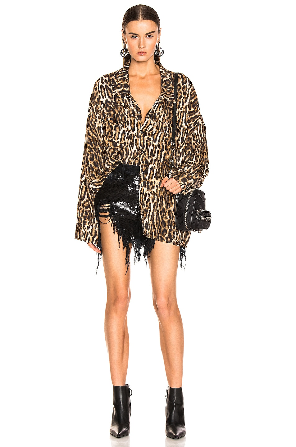 Image 4 of R13 Oversized Cowboy Shirt in Leopard