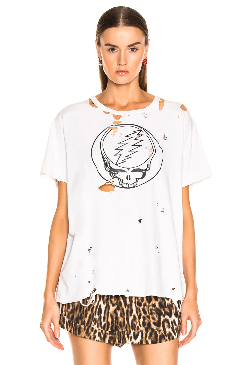 Image 2 of R13 Steal Your Face Distressed Boy Tee in Dirty White
