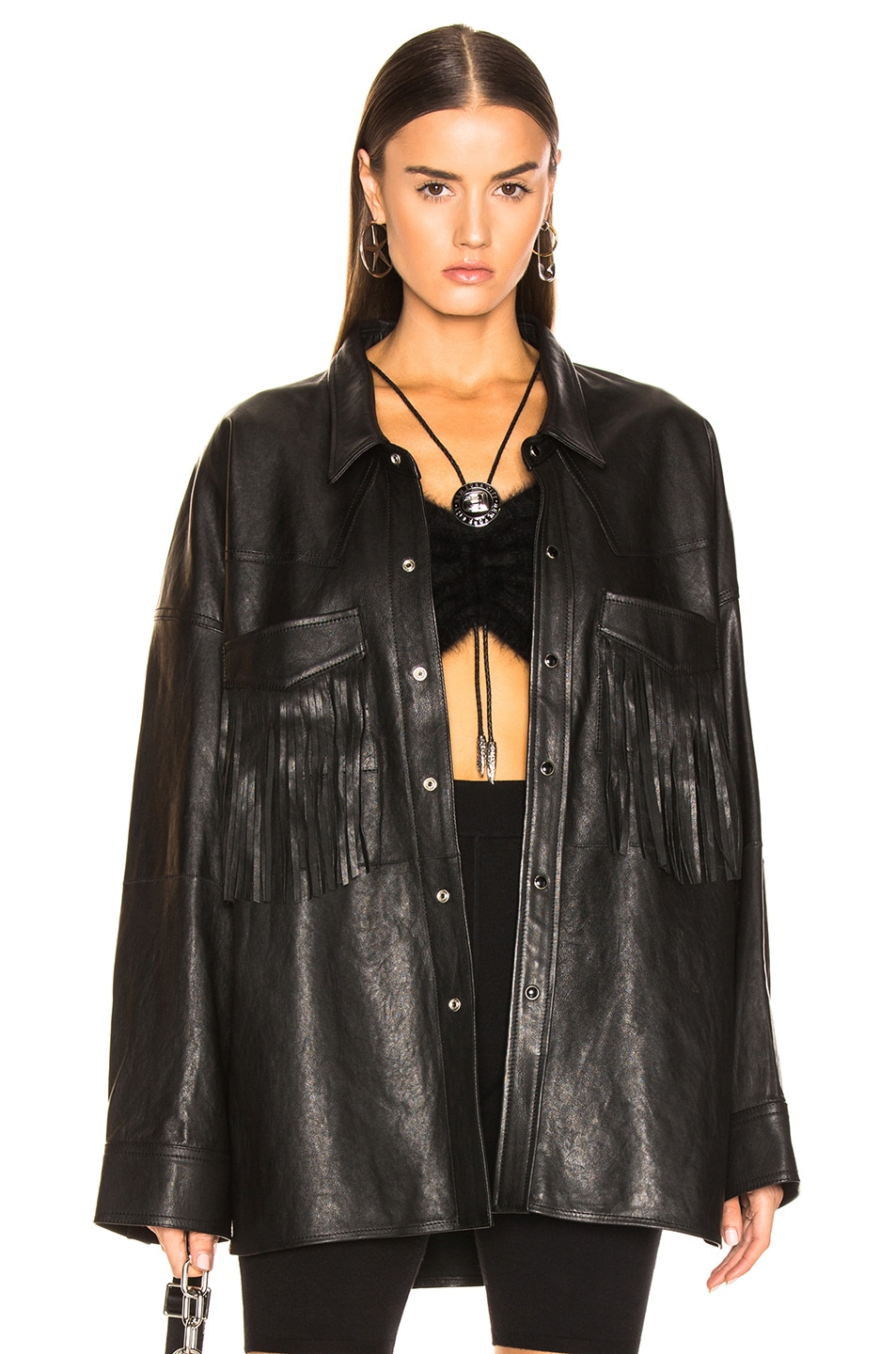 Image 1 of R13 Fringe Leather Shirt in Black