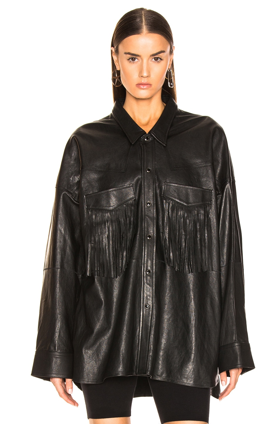 Image 2 of R13 Fringe Leather Shirt in Black