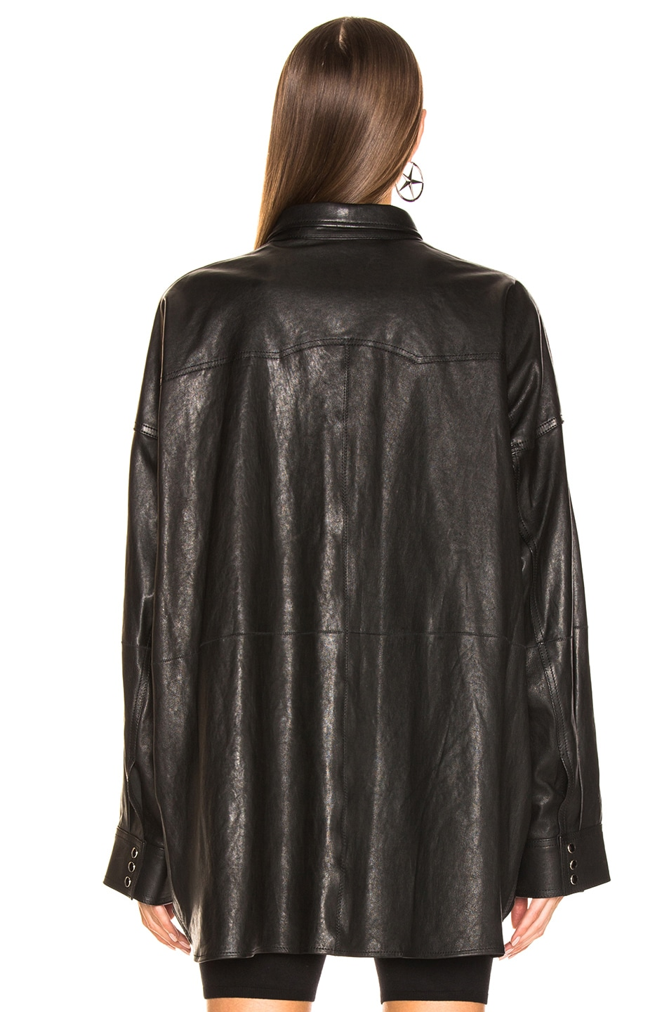Image 4 of R13 Fringe Leather Shirt in Black