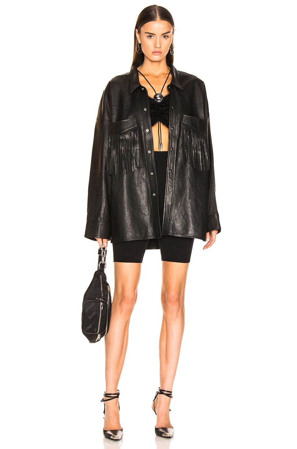 Image 5 of R13 Fringe Leather Shirt in Black
