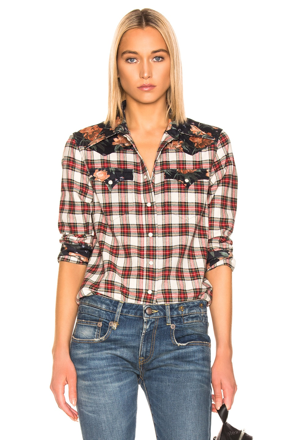 Image 1 of R13 Exaggerated Collar Cowboy Shirt in Ecru & Black Floral
