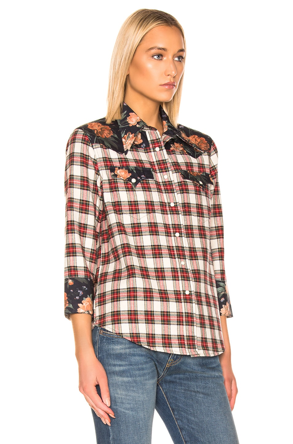 Image 2 of R13 Exaggerated Collar Cowboy Shirt in Ecru & Black Floral