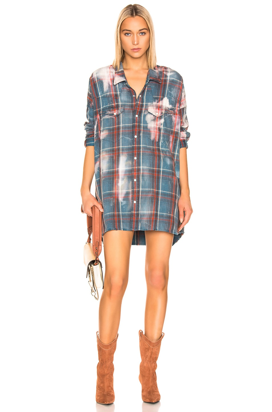 Image 1 of R13 Oversized Cowboy Shirt in Blue Plaid & Bleach Stains