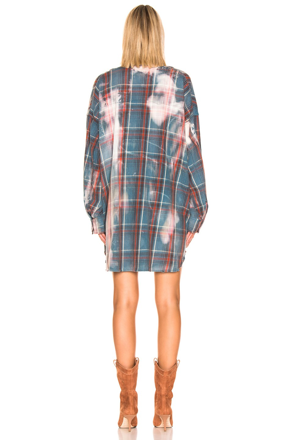 Image 3 of R13 Oversized Cowboy Shirt in Blue Plaid & Bleach Stains