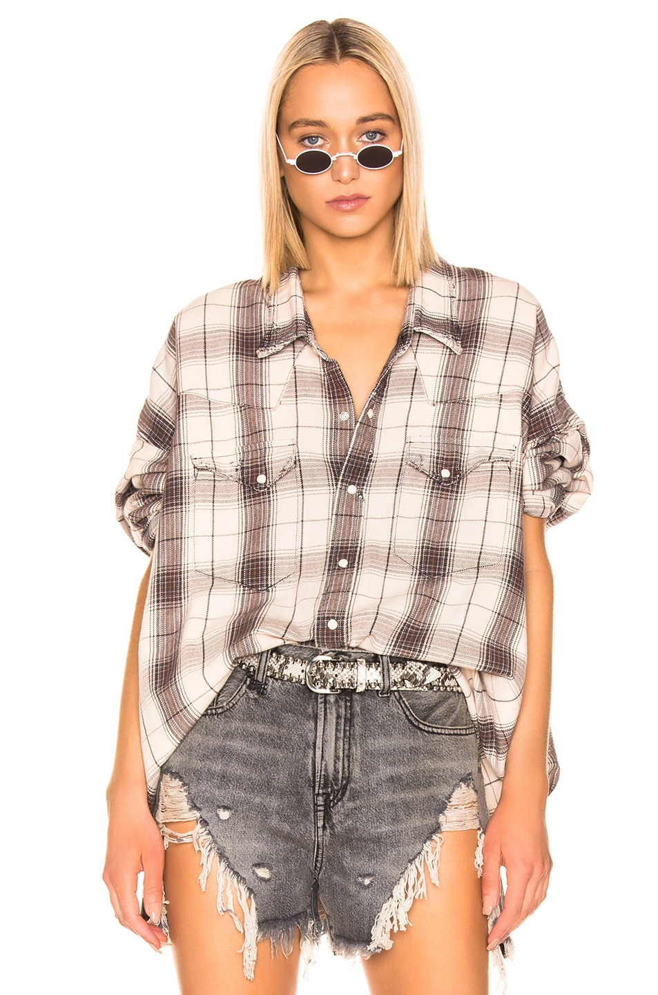 Image 1 of R13 Oversized Cowboy Shirt in Ecru Plaid