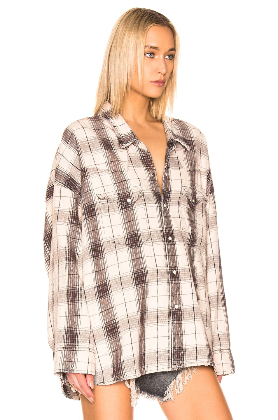 Image 2 of R13 Oversized Cowboy Shirt in Ecru Plaid