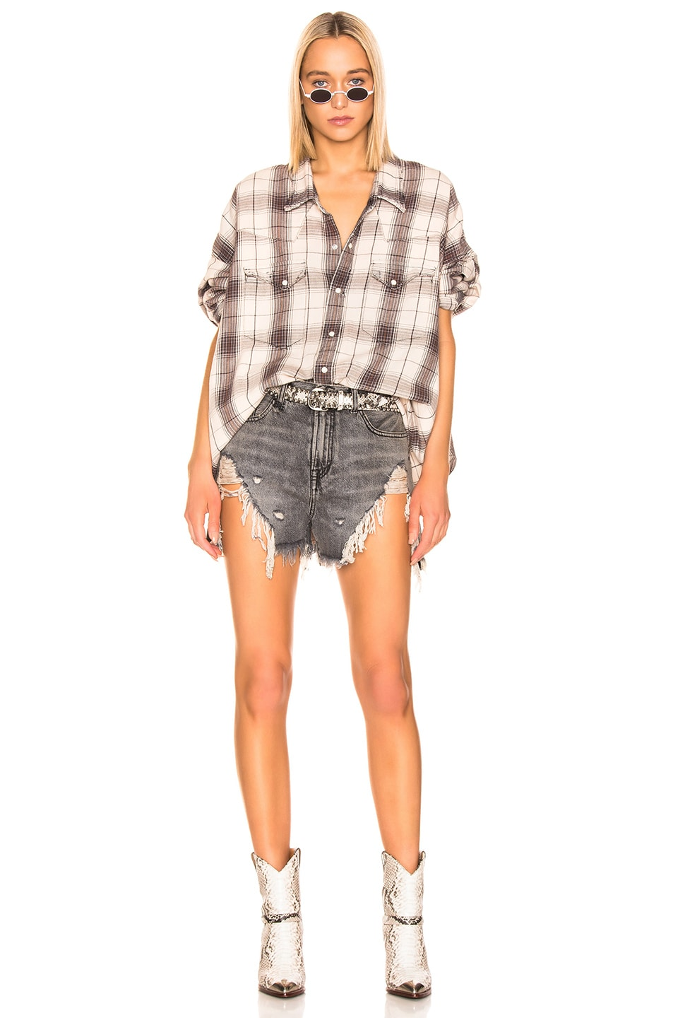 Image 4 of R13 Oversized Cowboy Shirt in Ecru Plaid