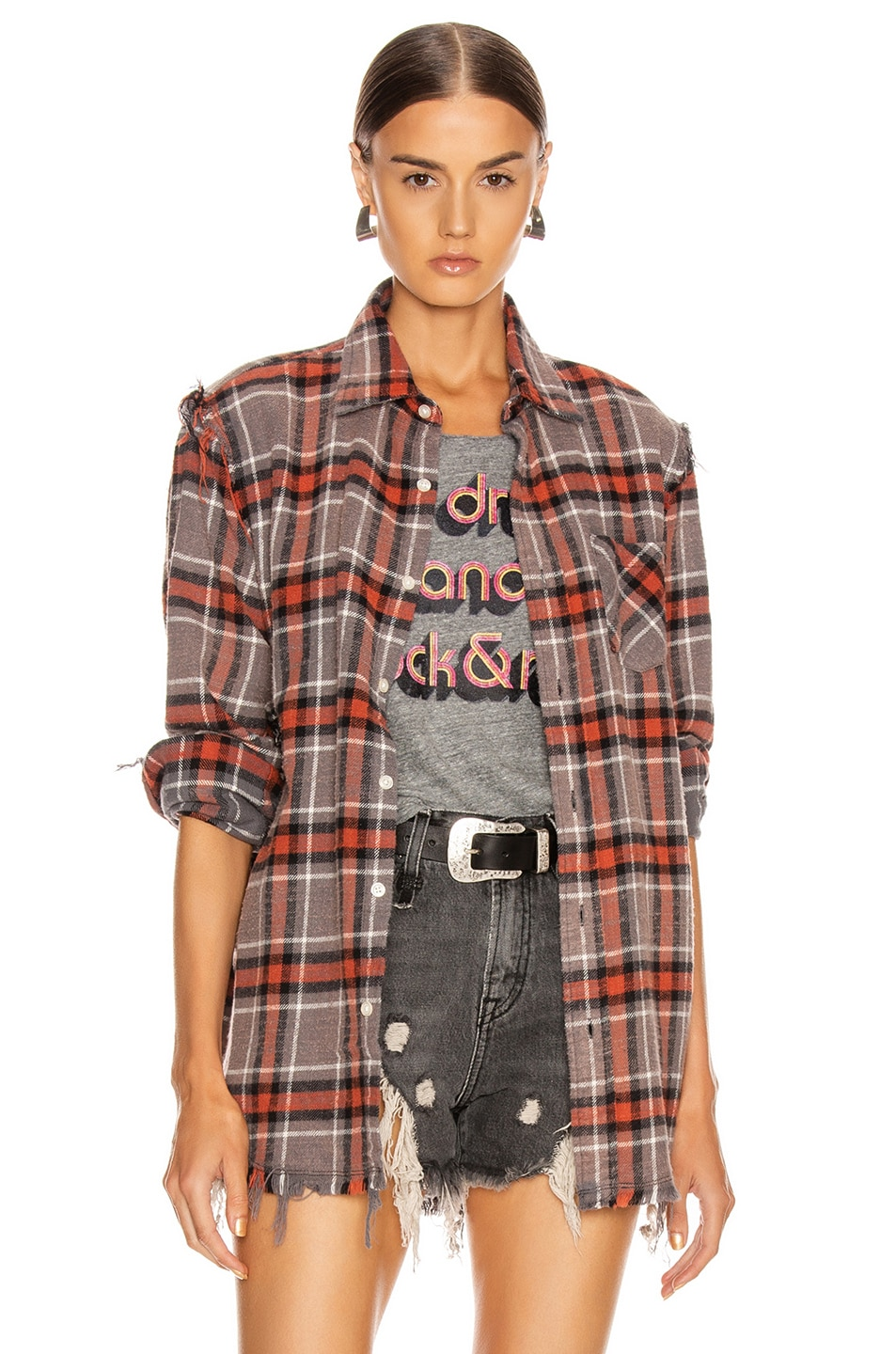 Image 1 of R13 Shredded Seam Shirt in Charcoal & Red Plaid