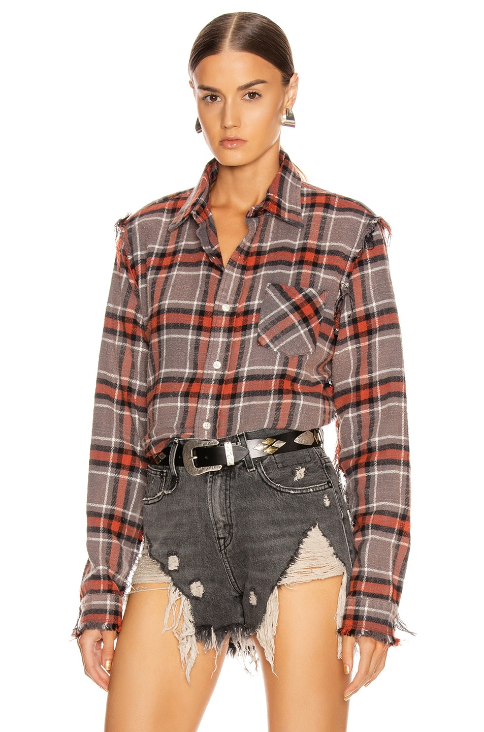 Image 2 of R13 Shredded Seam Shirt in Charcoal & Red Plaid