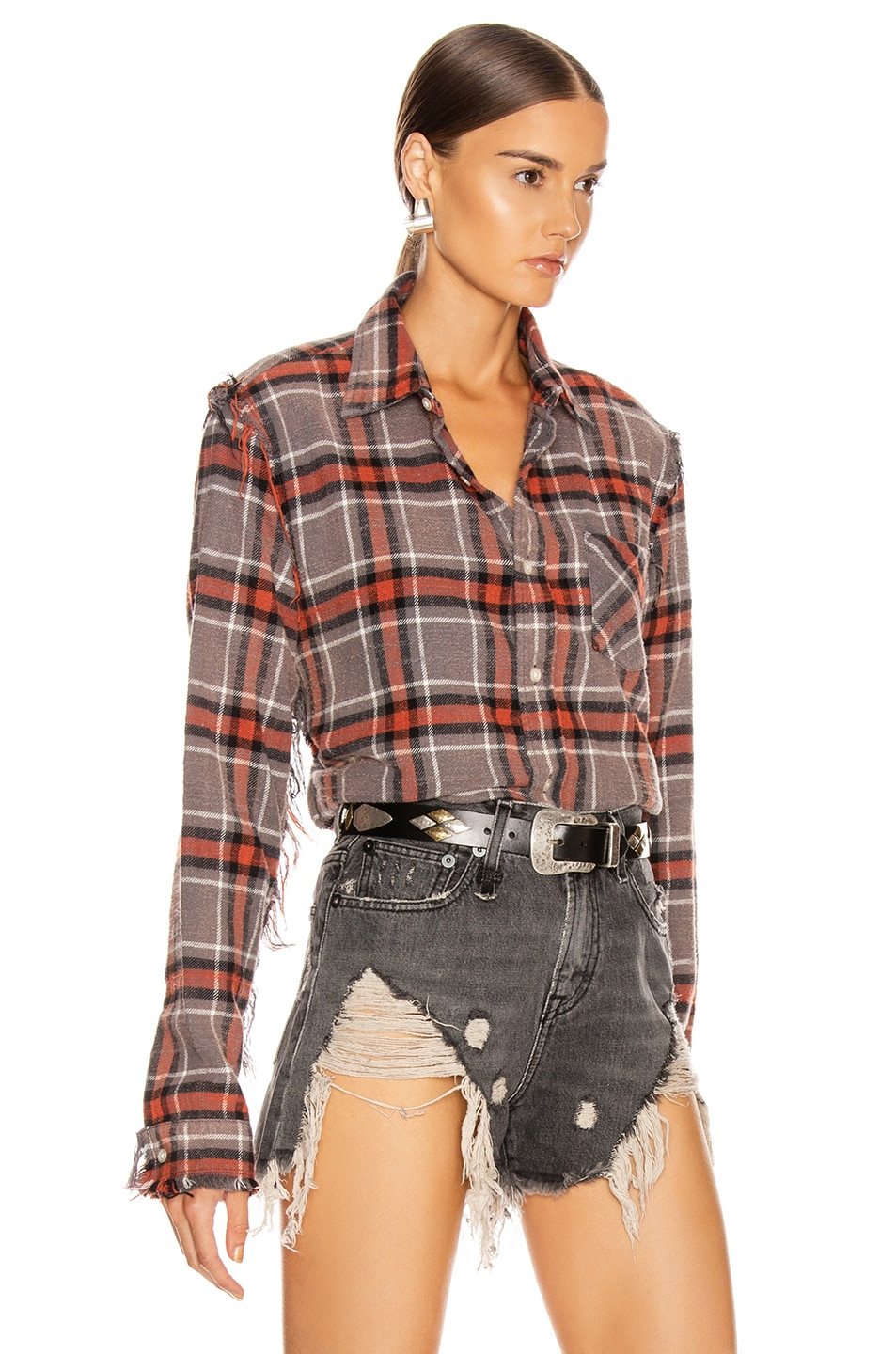 Image 3 of R13 Shredded Seam Shirt in Charcoal & Red Plaid