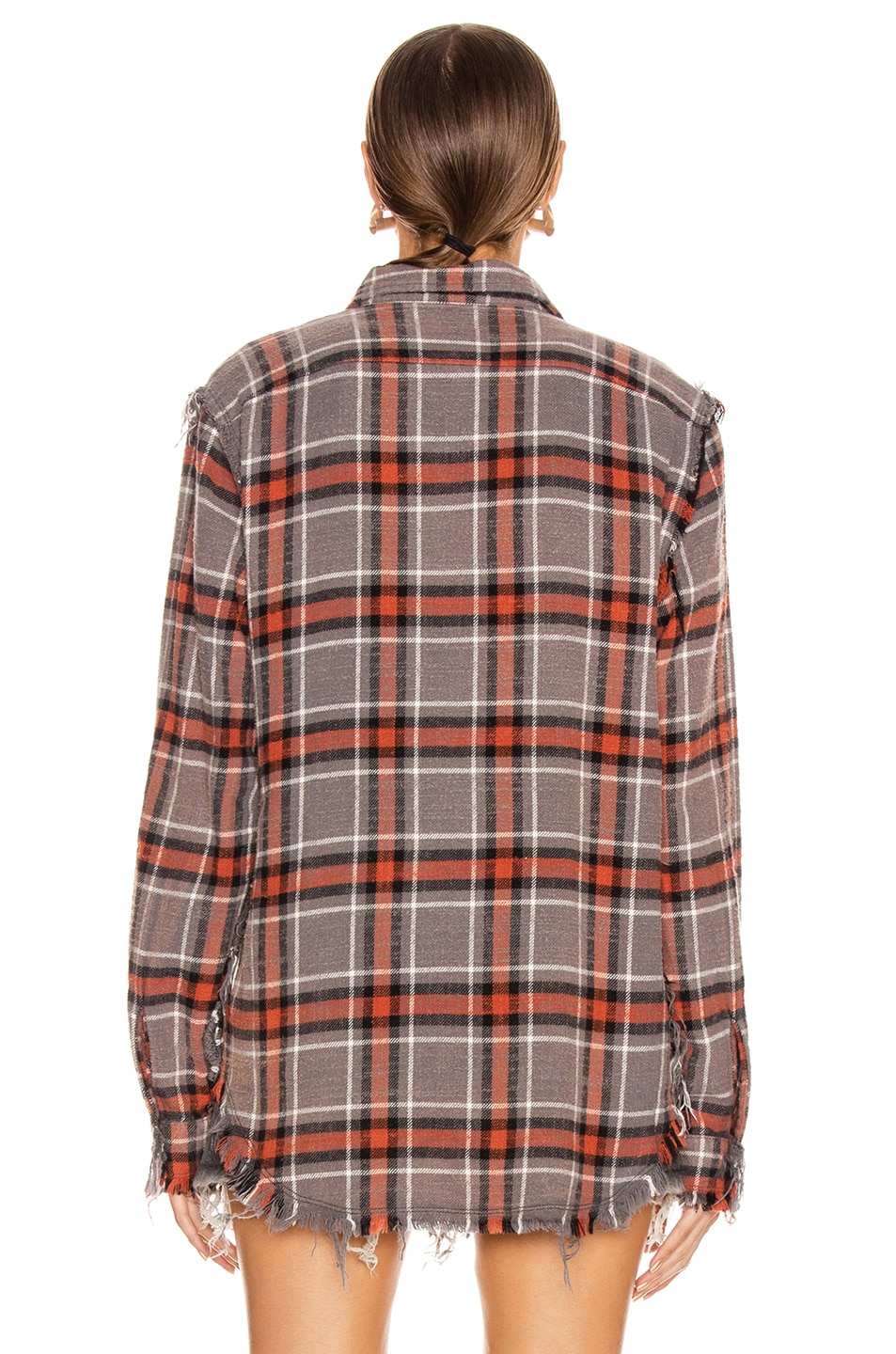 Image 4 of R13 Shredded Seam Shirt in Charcoal & Red Plaid