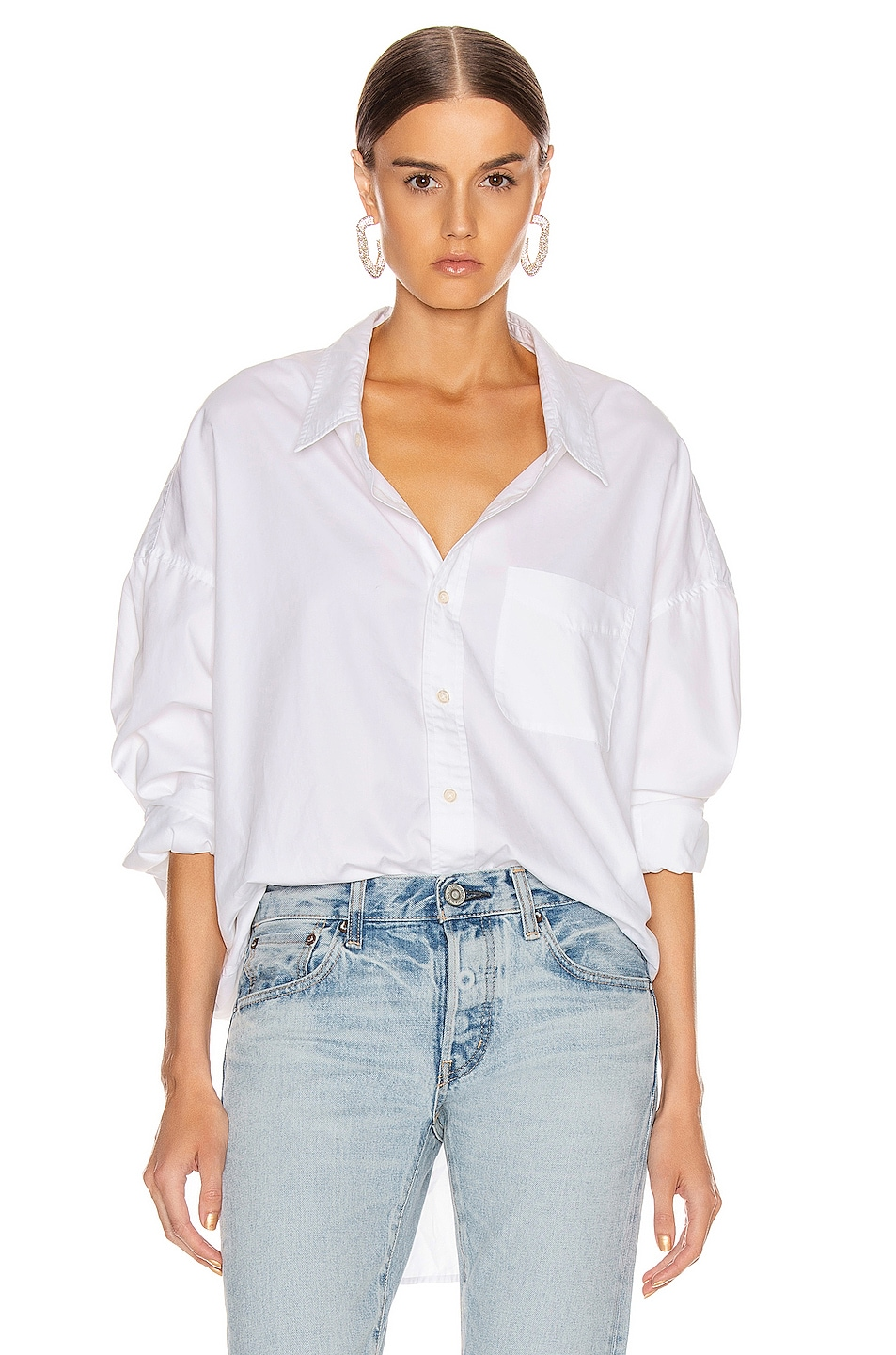 Image 1 of R13 Drop Neck Oxford Shirt in White