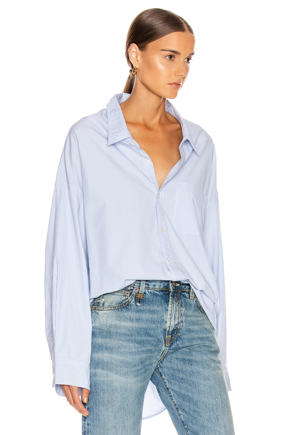 Image 2 of R13 Drop Neck Oxford Shirt in Blue & White Pinstripe