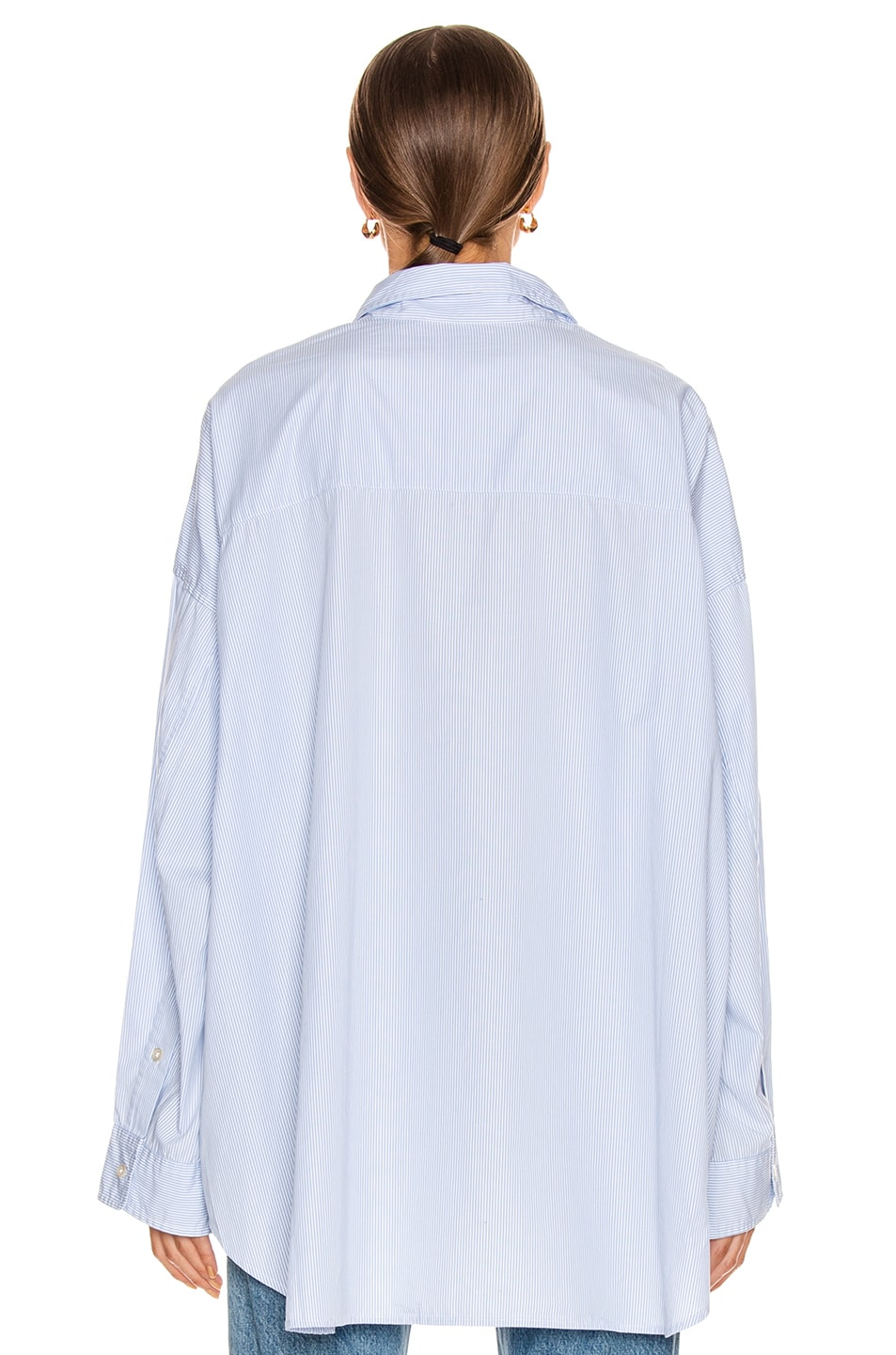 Image 3 of R13 Drop Neck Oxford Shirt in Blue & White Pinstripe