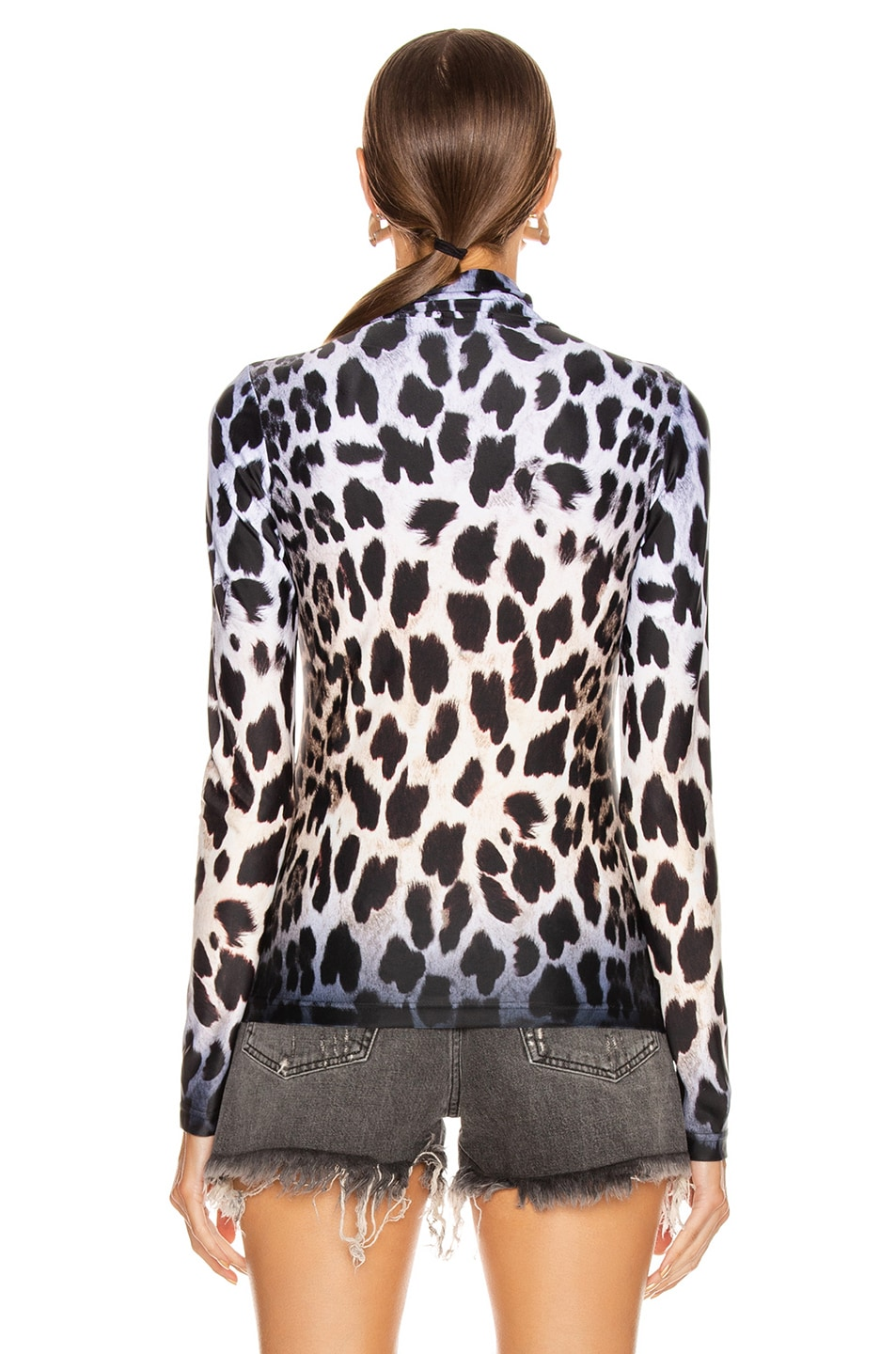 Image 3 of R13 Leopard Turtleneck Top in Faded Leopard
