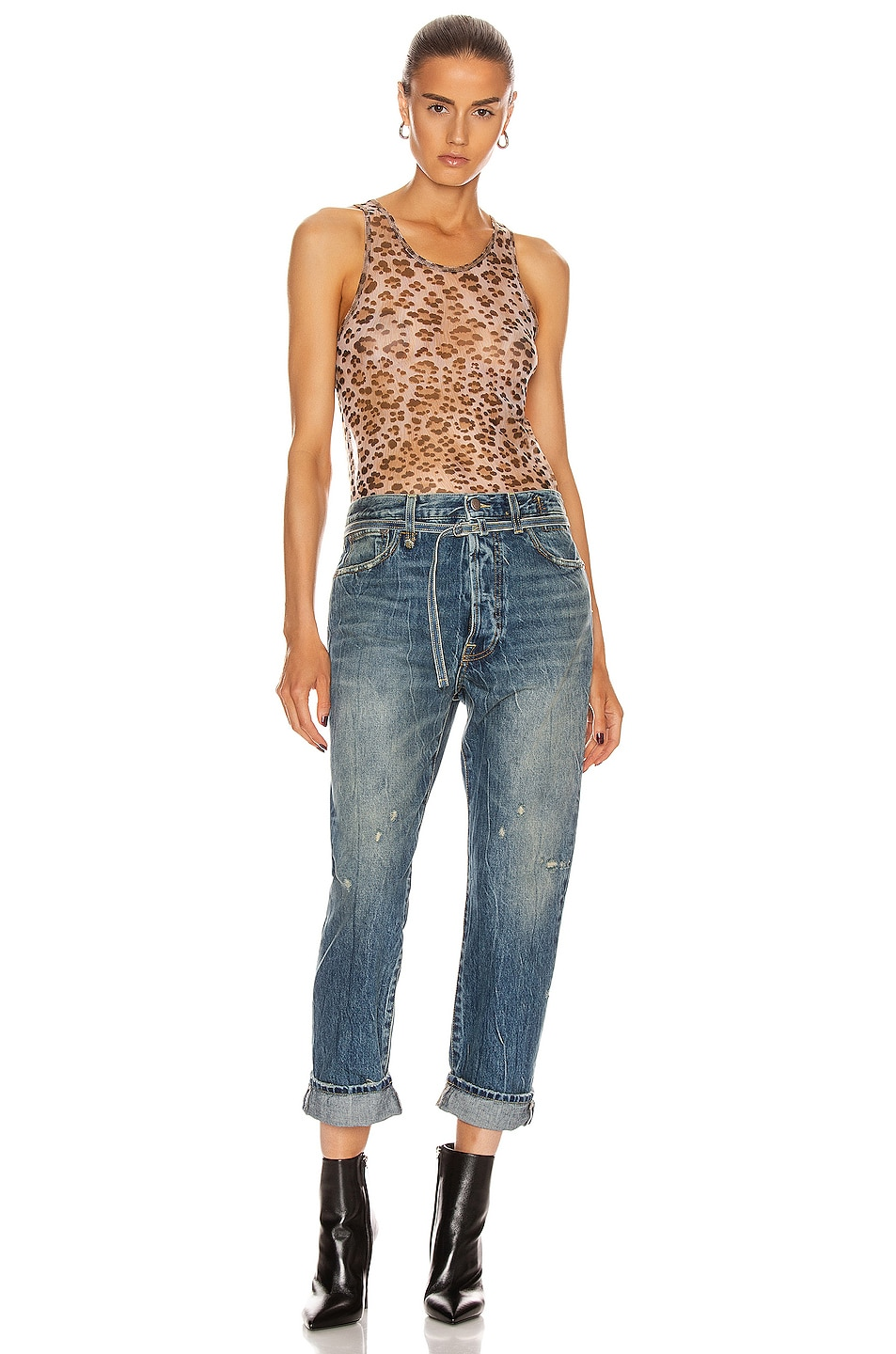 Image 4 of R13 Mesh Tank Top in Leopard
