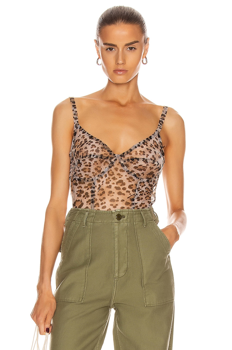 Image 1 of R13 Corset Cami Top in Leopard