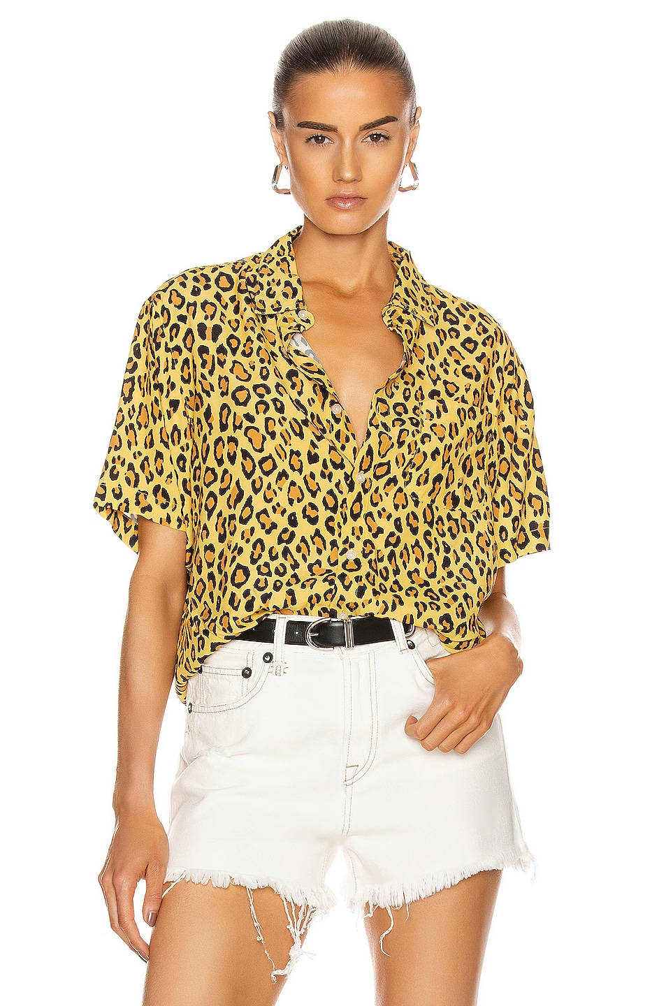 Image 1 of R13 Tony Shirt in Yellow Leopard