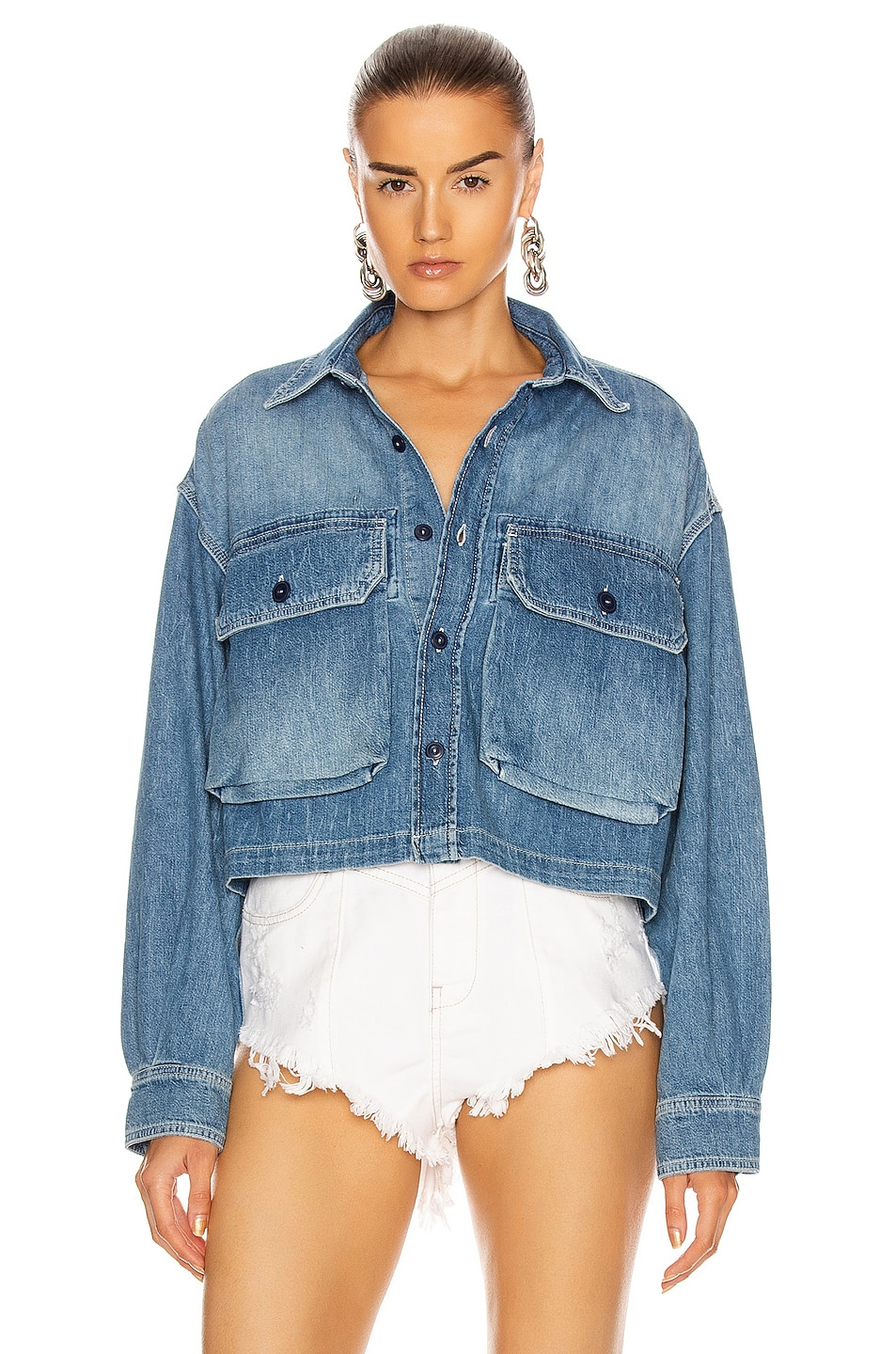 Image 1 of R13 Courtney Cropped Work Shirt in Brindley