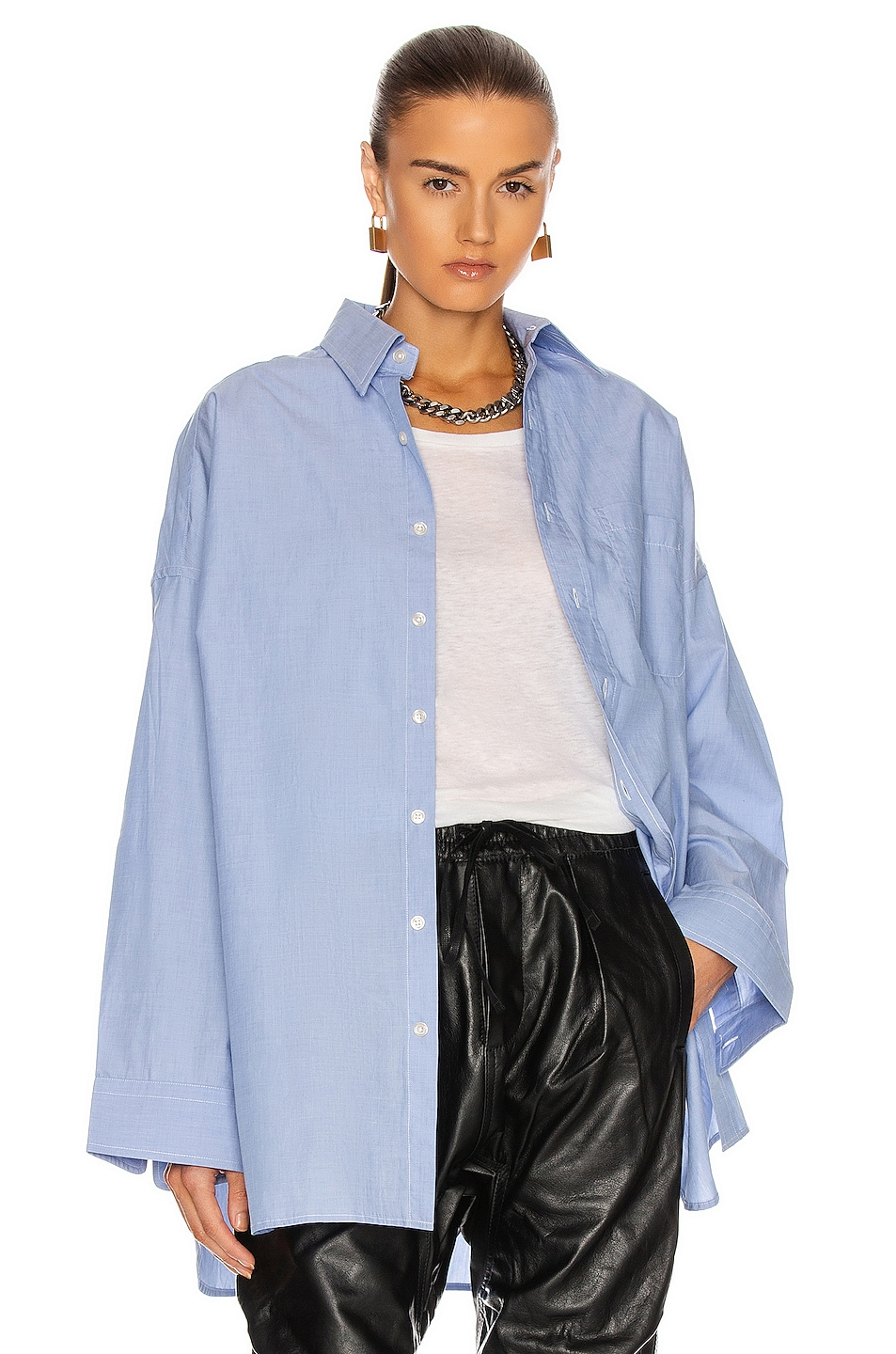 Image 1 of R13 Oversized Button Up Shirt in Light Blue