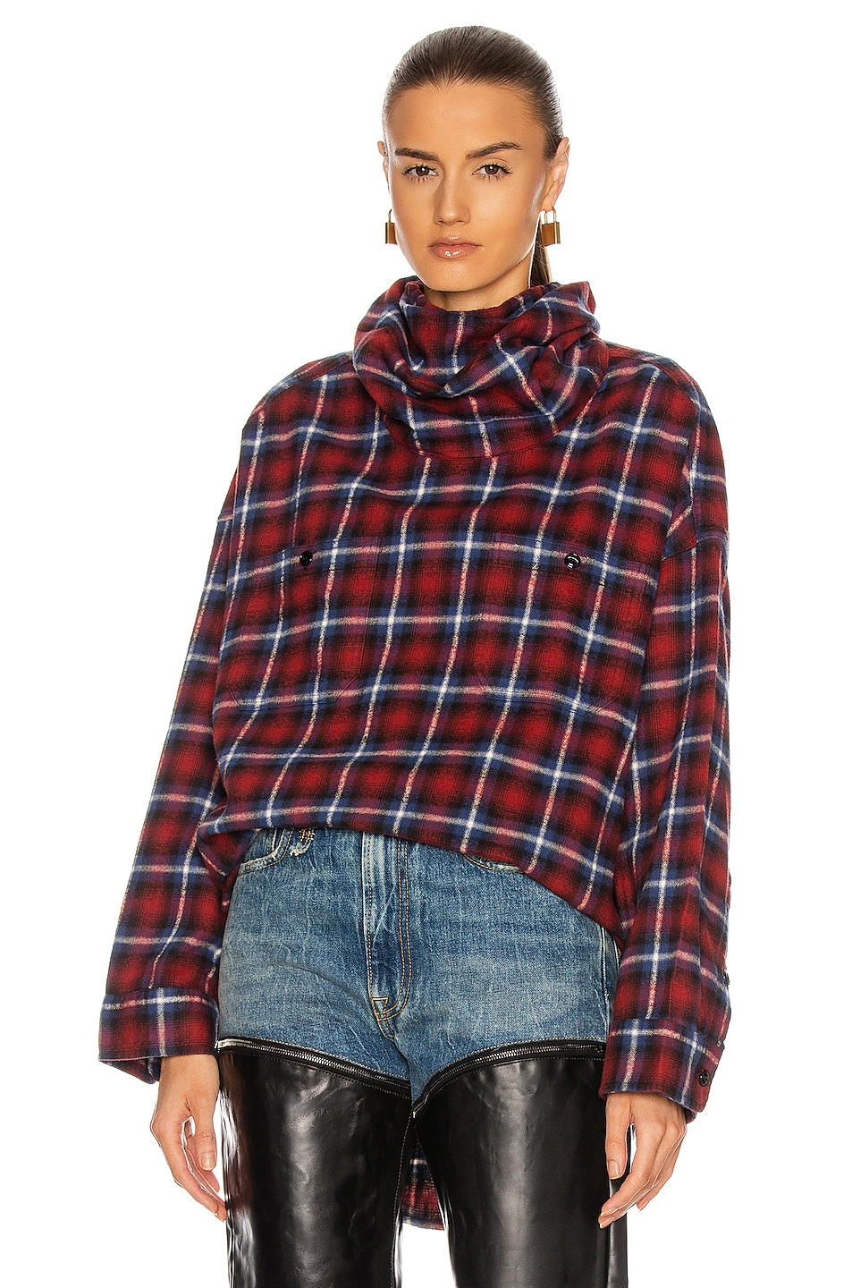 Image 1 of R13 #Maskup Oversized Flannel Workshirt in Red & Blue