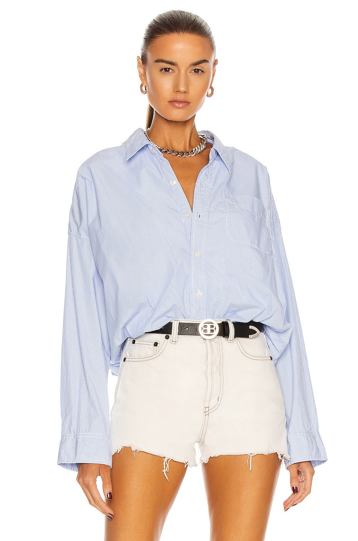 Image 1 of R13 Gathered Hem Shirt in Light Blue Pinstripe