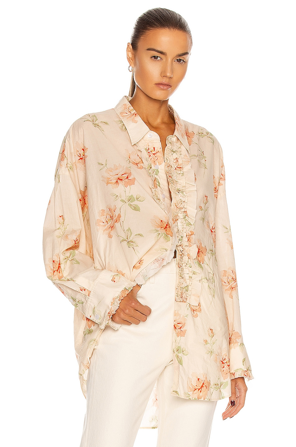 Image 1 of R13 Drop Neck Tuxedo Shirt in Pale Rose