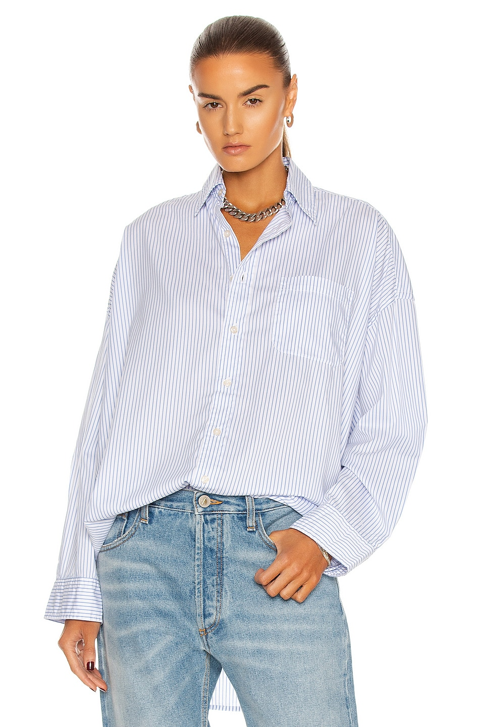 Image 1 of R13 Oversized Button Up Shirt in Blue Stripe