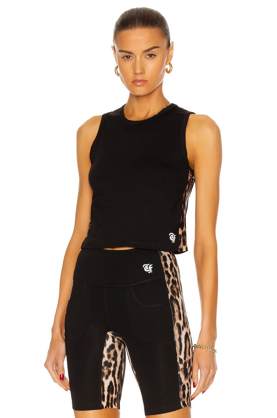 Image 1 of R13 Active Side Stripe Cropped Tank Top in Black Combo