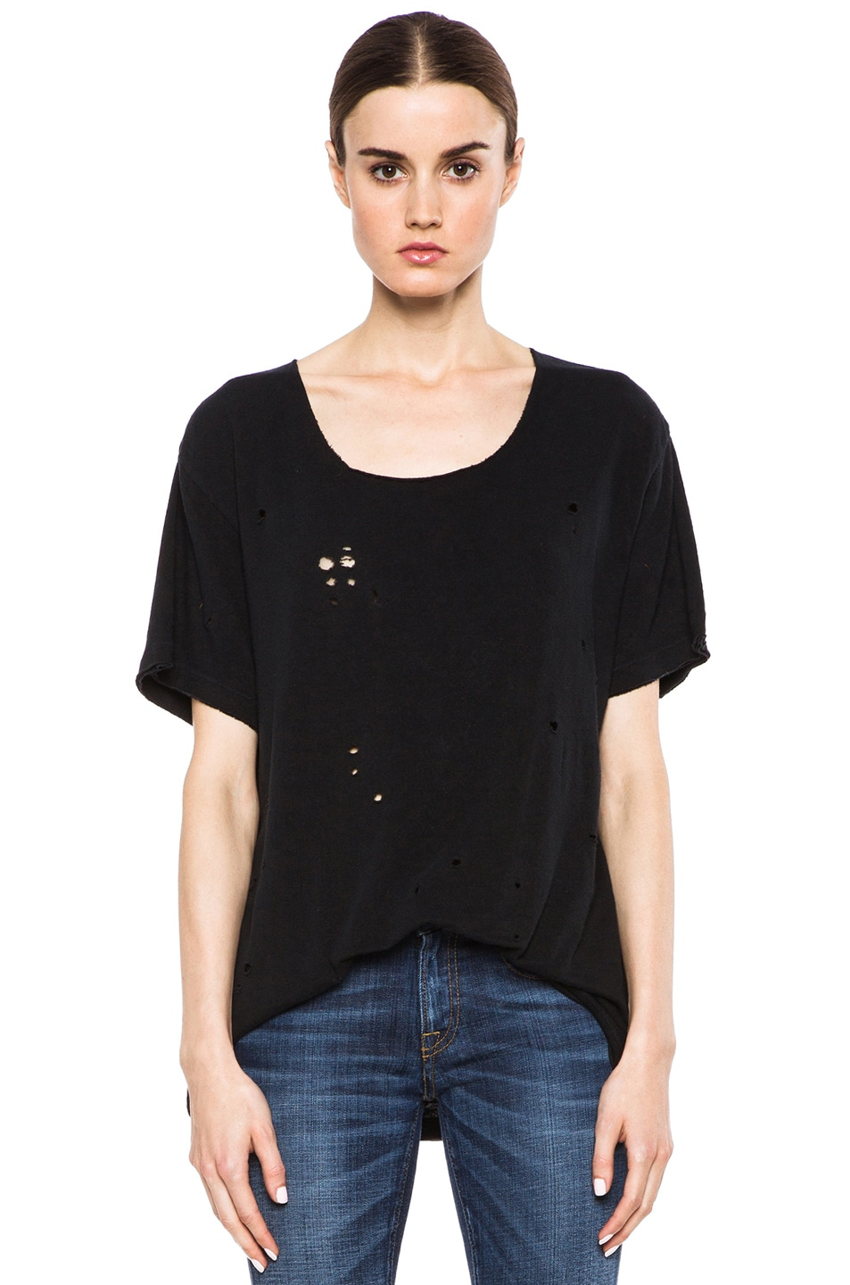 Image 1 of R13 Rosie Destroyed Cotton Tee in Black