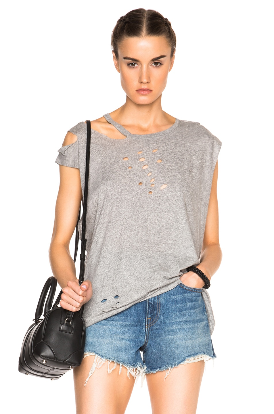 Image 1 of R13 Sleeveless Ripped Neck Tee in Heather Grey